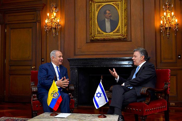 Primer Ministro de Israel, Benjamín Netanyahu junto al Presidente Juan Manuel Santos.
