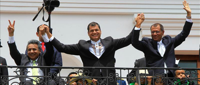 Rafael Correa junto a Jorge Glas.