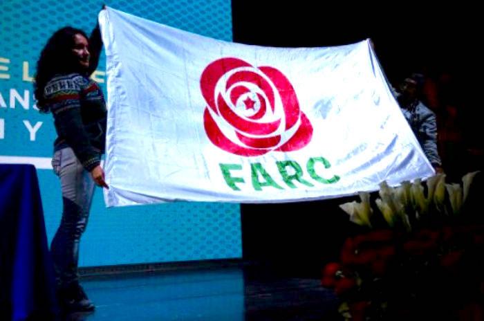 Bandera del partido político de las FARC.