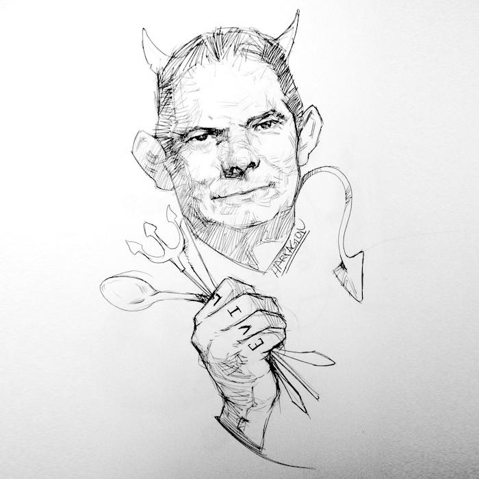 Germán Vargas Lleras con cachos, rabo y en la mano tiene una cuchara, un cuchillo y un trincho. En la mano tiene un tatuaje en los dedos que dice: EVIL