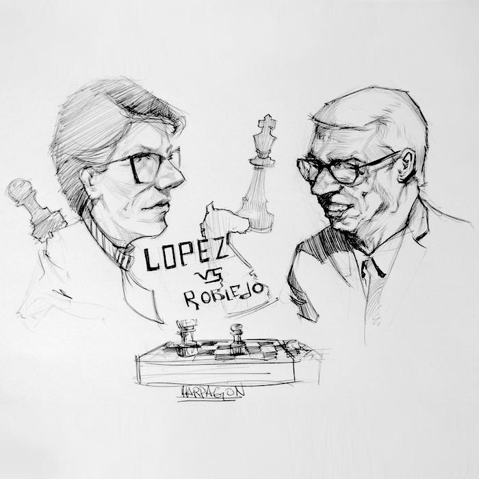 López Vs Robledo. Claudia López y Jorge Robledo enfrentados en un tablero de ajedrez.
