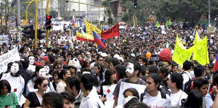 Movilizaciones estudiantiles en favor de las universidades públicas.