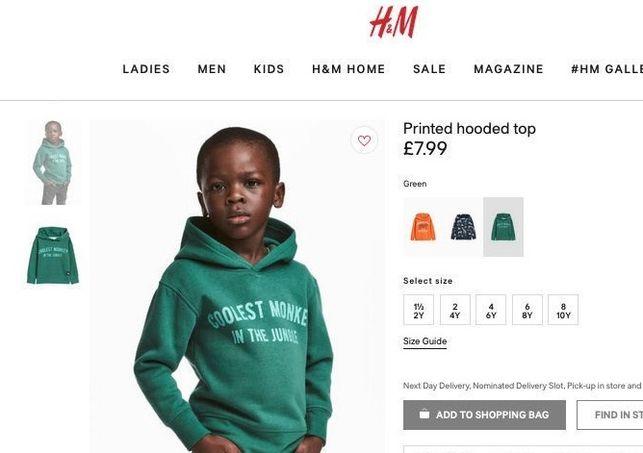 Publicidad racista por parte de la tienda H&M.