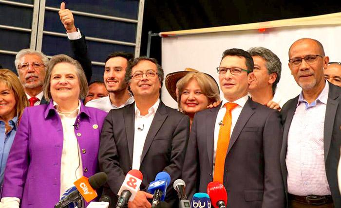 Coalición entre Clara López, Gustavo Petro y Carlos Caicedo.