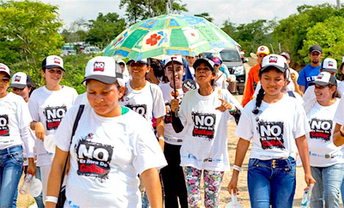 Manifestación de mujeres en contra de la violencia de género.