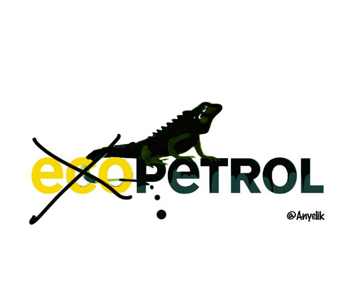 Logo de ecopetrol con el eco tachado y la lagartija cubierta de petróleo