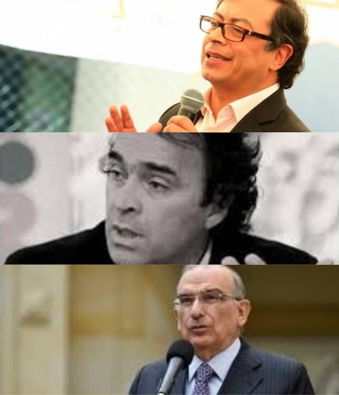 Candidatos Gustavo Petro, Sergio Fajardo y Humberto de la Calle.