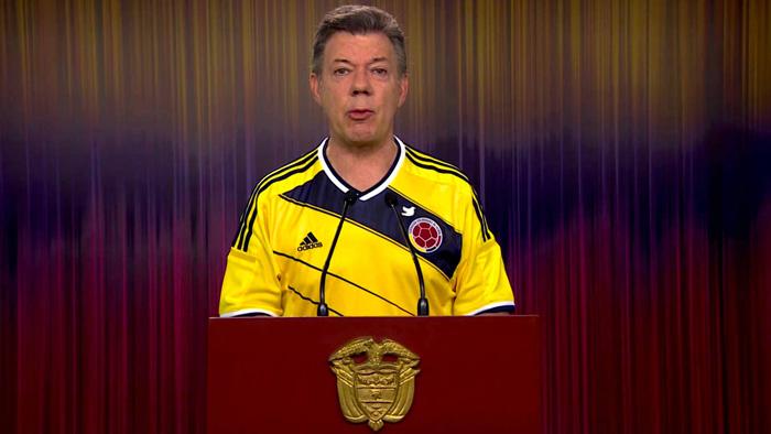 Alocución del Presidente Juan Manuel Santos de agradecimiento a la Selección Colombia de Fútbol.