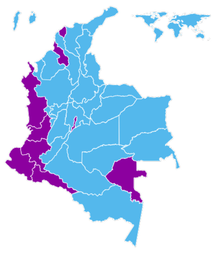 Mapa de Colombia con los resultados de las elecciones presidenciales.