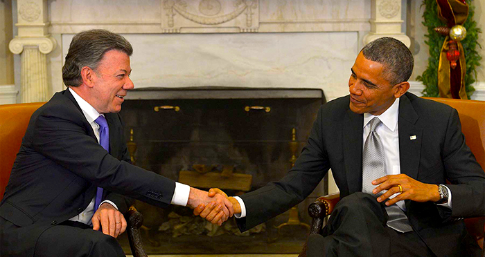 Presidente Juan Manuel Santos con el presidente Obama.