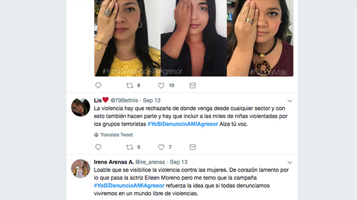 Manifestaciones de apoyo a Eileen a través de Twitter con el #YoSíDenuncioAMiAgresor.