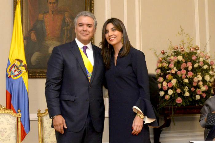 Duque y la ministra de educación, María Victoria Angulo