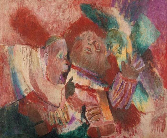 Fernando Botero Milagro de la niña devorada por un colibrí, 1960. Óleo sobre tela. Colección Museo de Arte Moderno de Barranquilla.