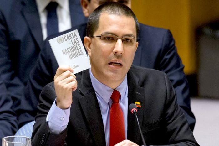 Jorge Arreaza, ministro de Asuntos Exteriores de Venezuela hablando en el Consejo de Seguridad.