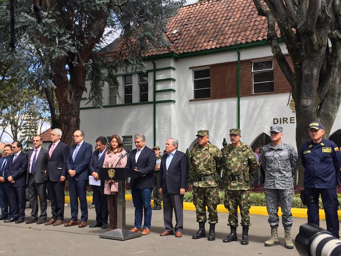 Escuela General Santander luego del atentado.