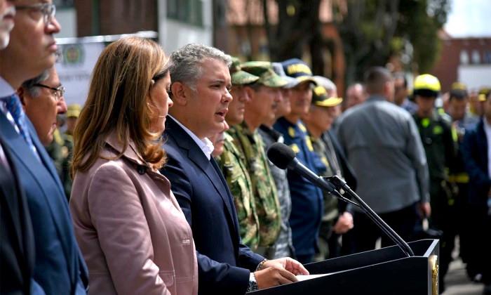 Presidente Duque dando declaraciones luego del atentado del ELN en la Escuela Gral. Santander