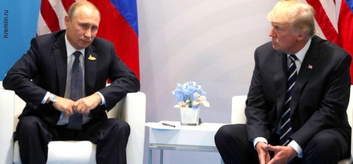 Vladimir Putin y Donald Trump en reunión en Helsinki.