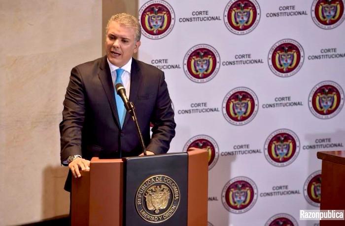Duque en la Corte Constitucional en el debate sobre Glifosato.