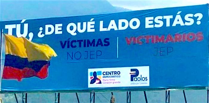 Valla del Centro Democrático.
