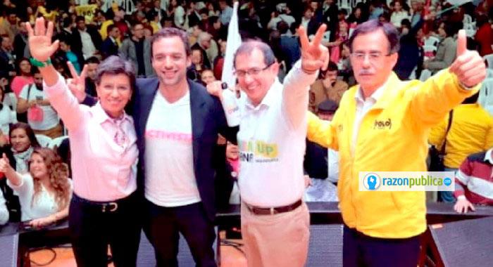 Claudia López en coalición con otros candidatos del sector alternativo.