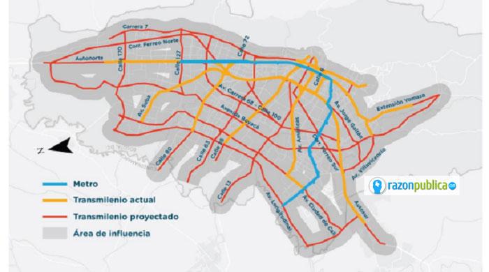 Red futura de transporte público masivo y su área de influencia