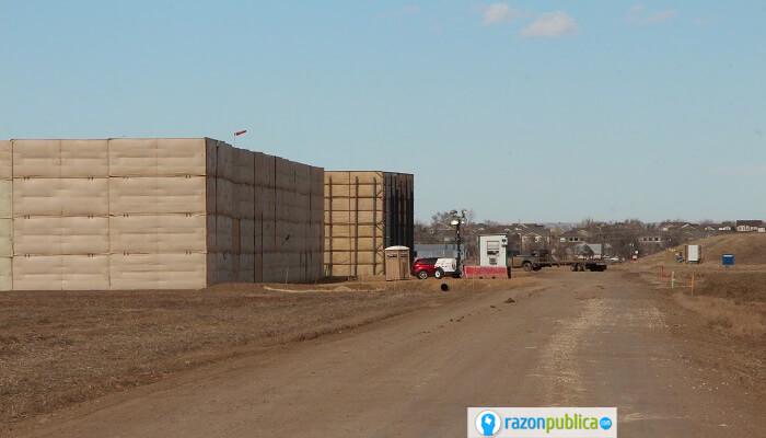 Pozo de fracking en construcción