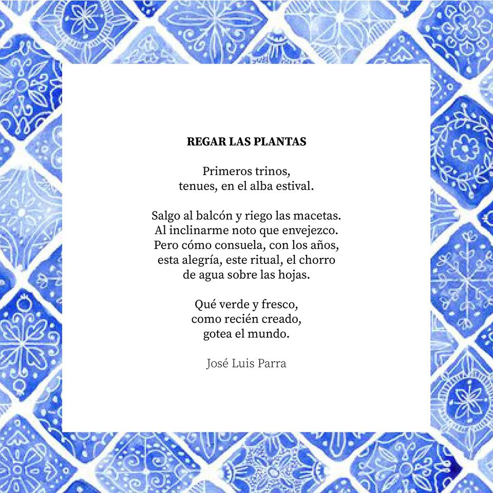 Poema regar las plantas José luis Parra